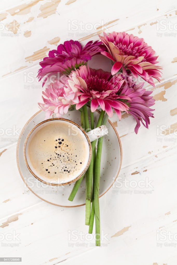 Gerbera Flowers Bouquet And Coffee Cup Stock Photo & More Pictures ...