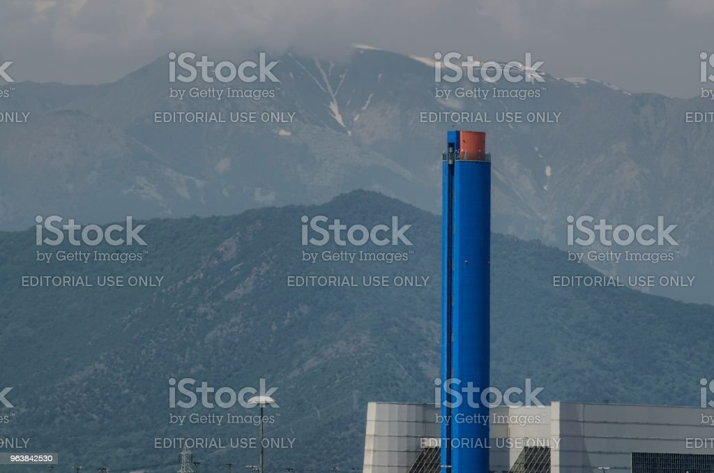 Gerbido, Italy .The waste-to-energy plant of the company TRM-IREN GROUP - Royalty-free Air Pollution Stock Photo