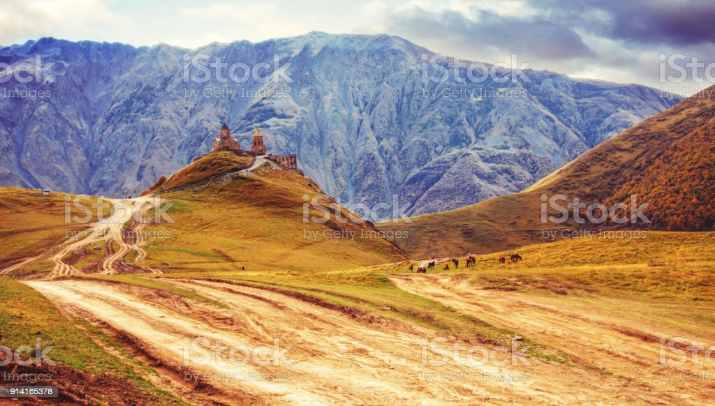 Gergeti church view, Georgia stock photo