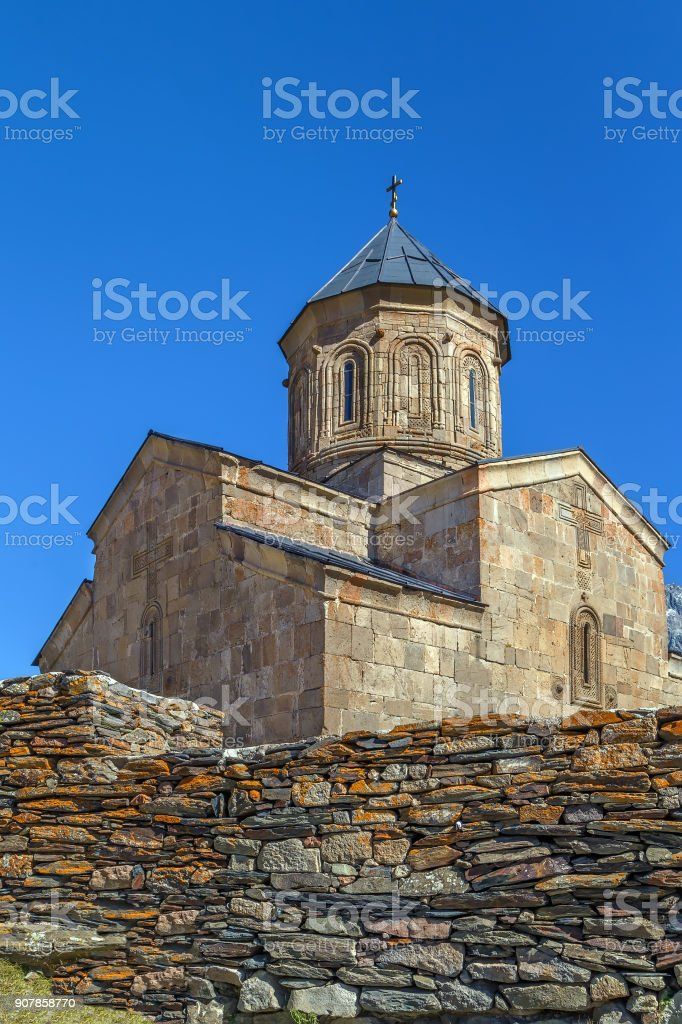 Gergeti Trinity Church, Georgia stock photo