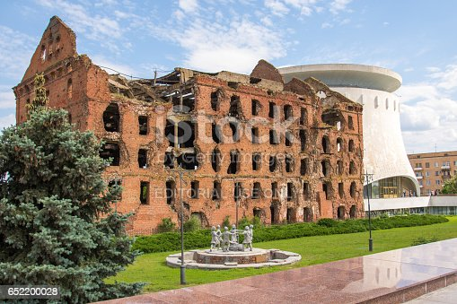Volgograd. Russia - June 11, 2016. Gerhardt Destroyed mill and a copy of the monument Fountain \