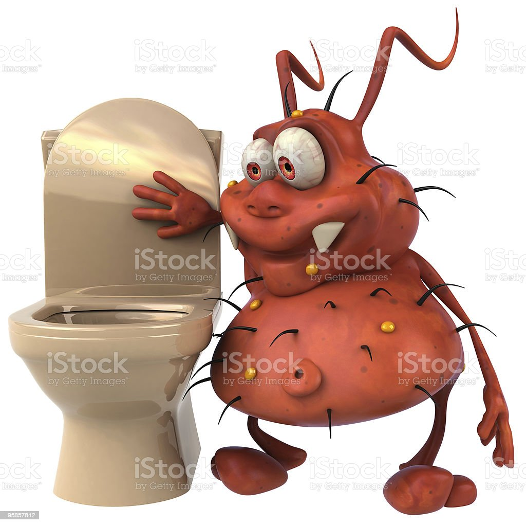 Germ and toilets royalty-free stock photo