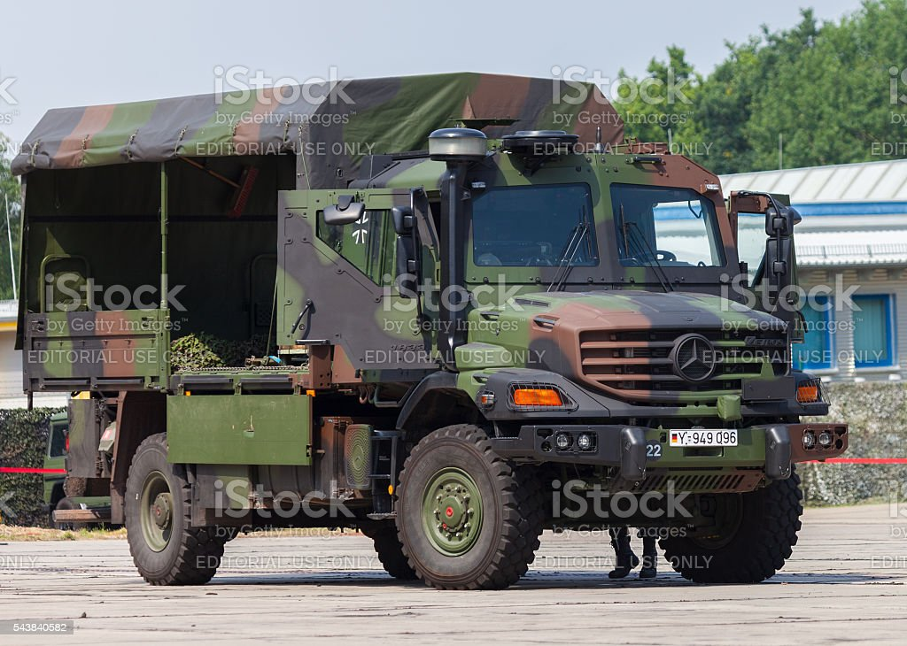 german army truck, Mercedes-Benz Zetros stock photo