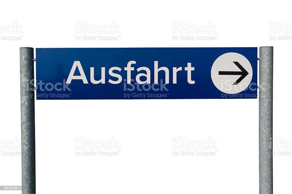 German Ausfahrt sign stock photo