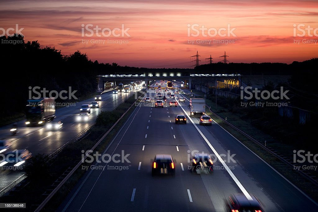 German autobahn at dusk, long exposure stock photo