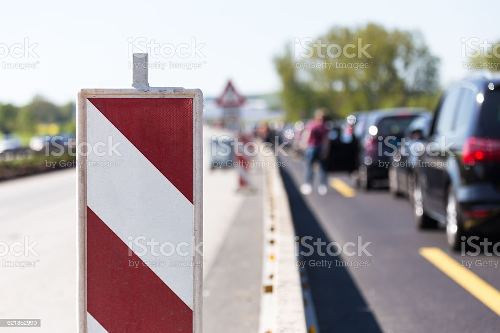 german autobahn construction site stock photo