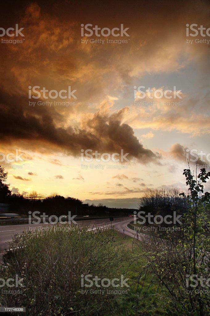 German Autobahn Sunset stock photo