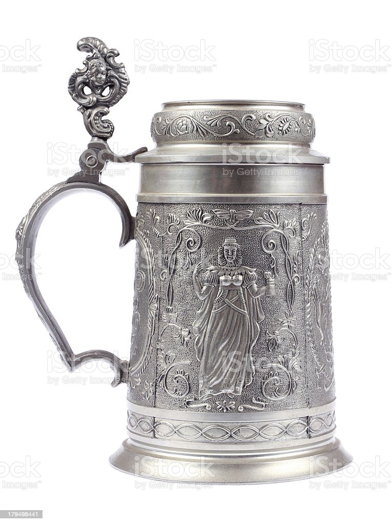 German beer stein made of tin stock photo