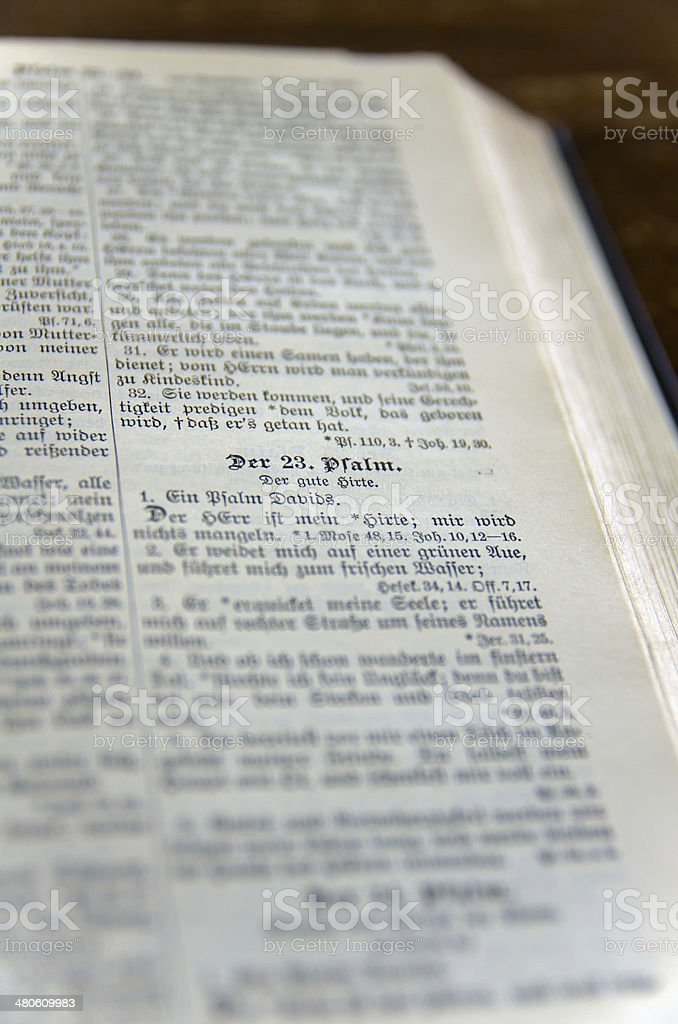 German Bible Open to 23rd Psalm. royalty-free stock photo