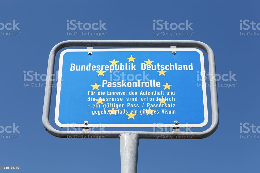 German border sign and passport control stock photo