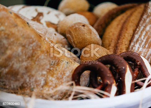 Various of typical German fresh Bavarian rolls and pretzels bread on an bakery in basket