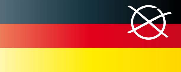 German Bundestag elections with German flag and election cross isolated on white banner stock photo