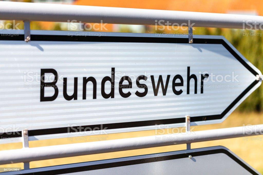 german Bundeswehr sign near a barrack. Bundeswehr means German armed forces stock photo