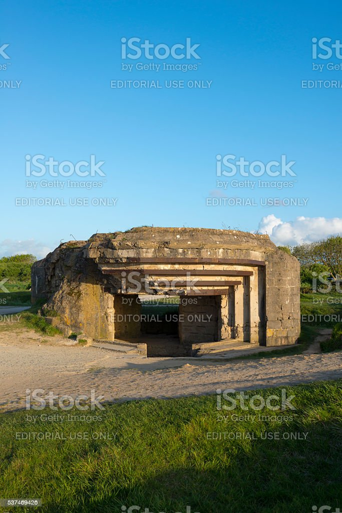 German bunker at Pointe du Hoc, Normandy stock photo