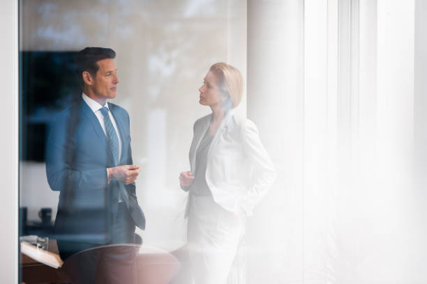 German businesspeople Two formally dressed executives are working together in the bright office. georgijevic frankfurt stock pictures, royalty-free photos & images