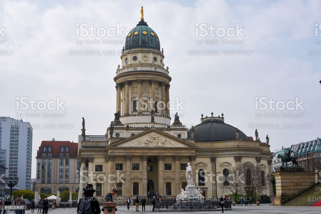 German cathedral at Gendarmenmarkt market in Berlin stock photo