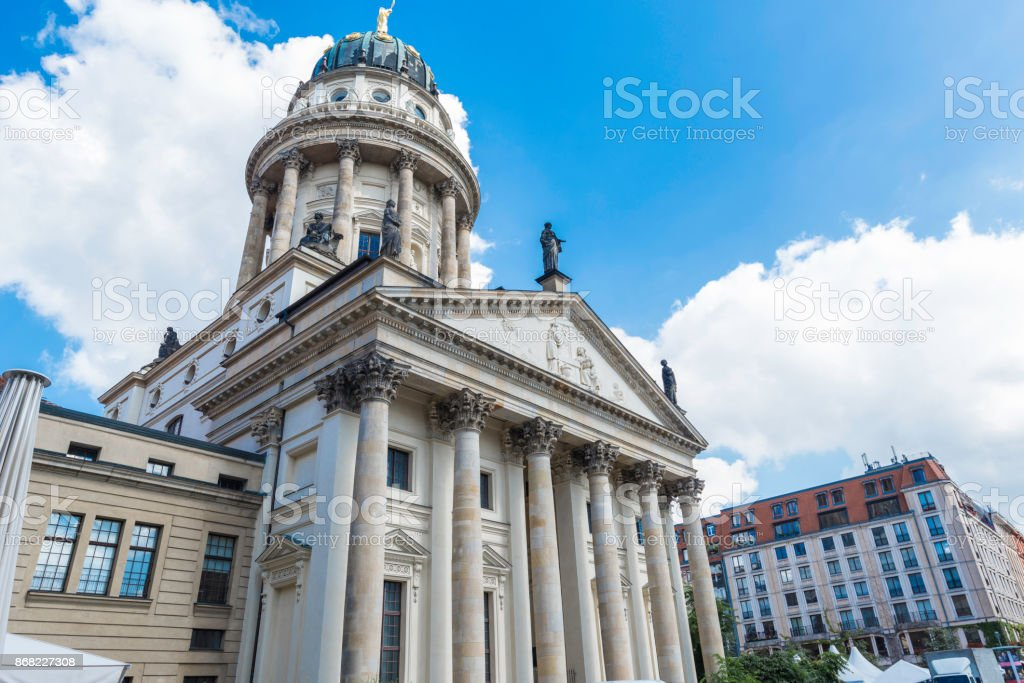 German Cathedral on the background of dramatic sky in Berlin Germany stock photo