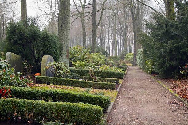 deutsche friedhof im winter - waldfriedhof stock-fotos und bilder
