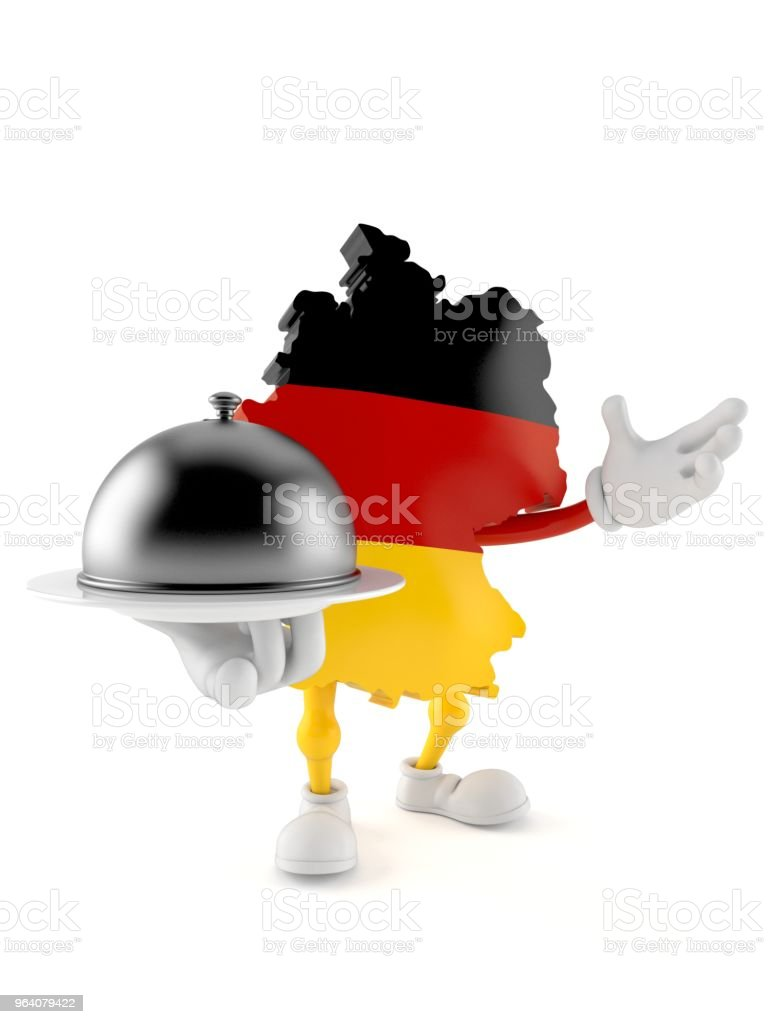 German character holding catering dome - Royalty-free Architectural Dome Stock Photo