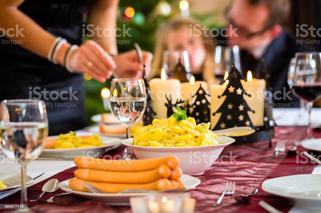 german christmas dinner sausages and potato salad royalty free stock photo