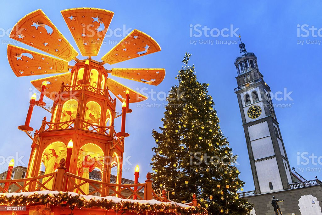 German Christmas Market - Wooden Pyramid in Augsburg stock photo