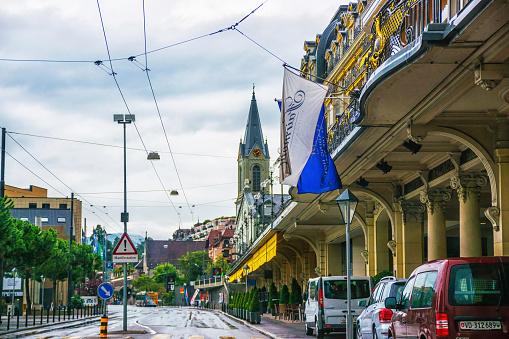 German Church at city center in Montreux of Vaud Switzerland