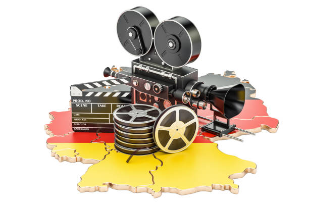 German cinematography, film industry concept. 3D rendering isolated on white background stock photo