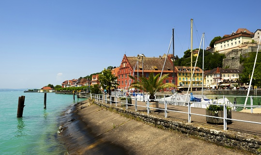 Meersburg, Germany, July 5, 2015: View of the picturesque medieval town of Meersburg which is situated on the north bank of the Lake Constance. The town is a popular travel destination.