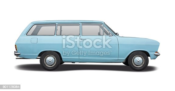 Classic station wagon car side view isolated on white