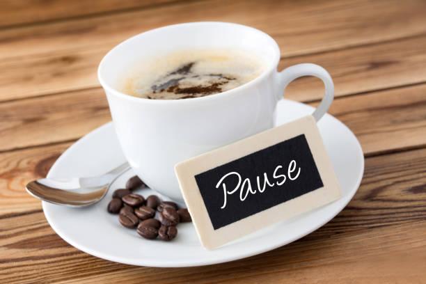 german coffee break label - fare una pausa foto e immagini stock