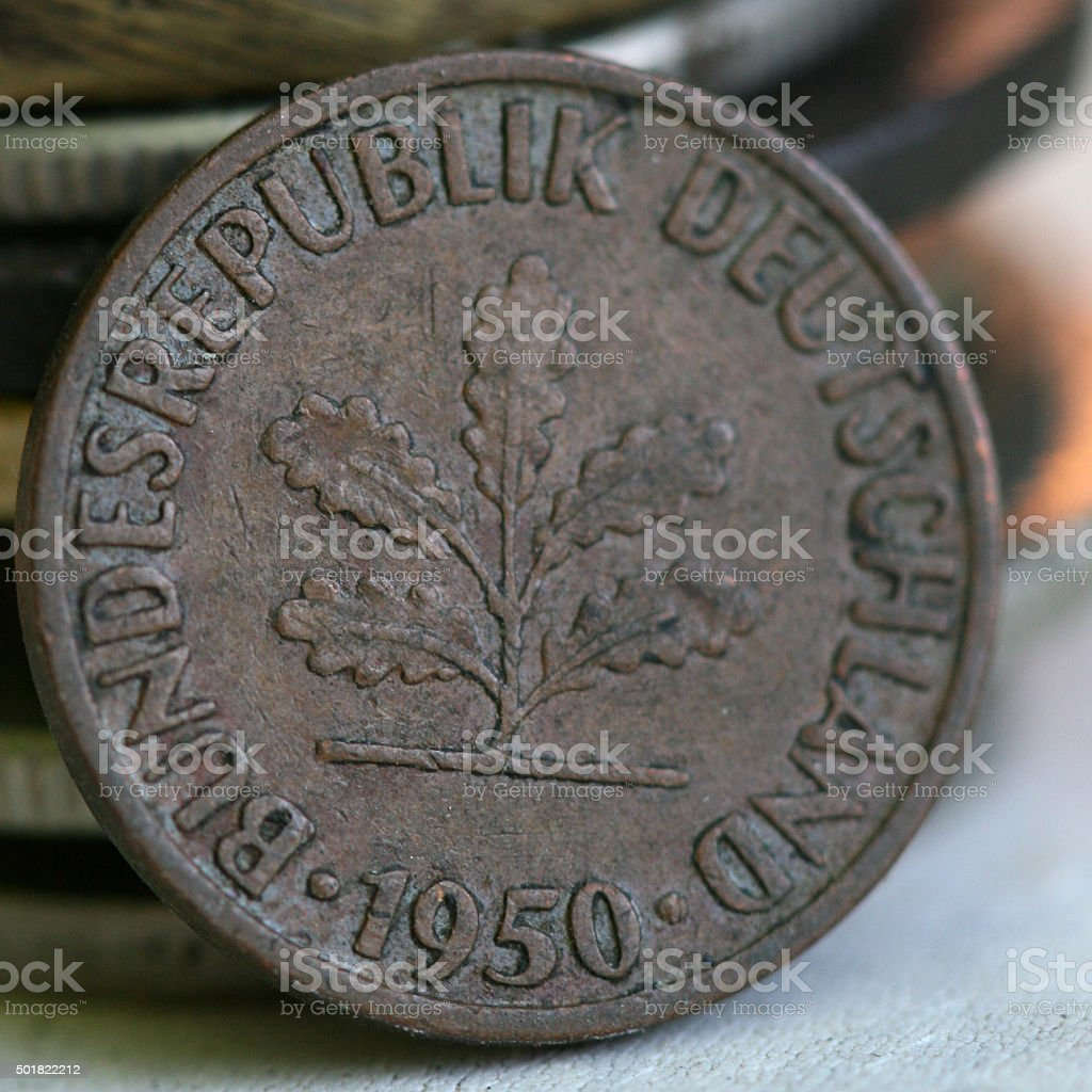 german coin from 1950 stock photo
