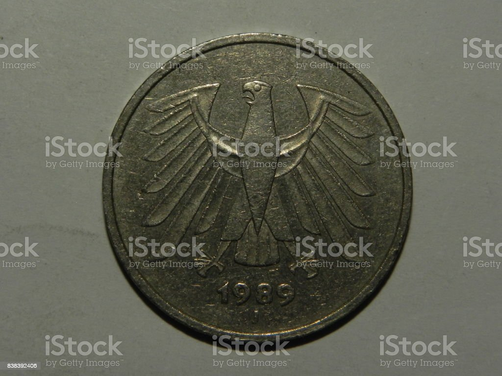 German coin macro stock photo