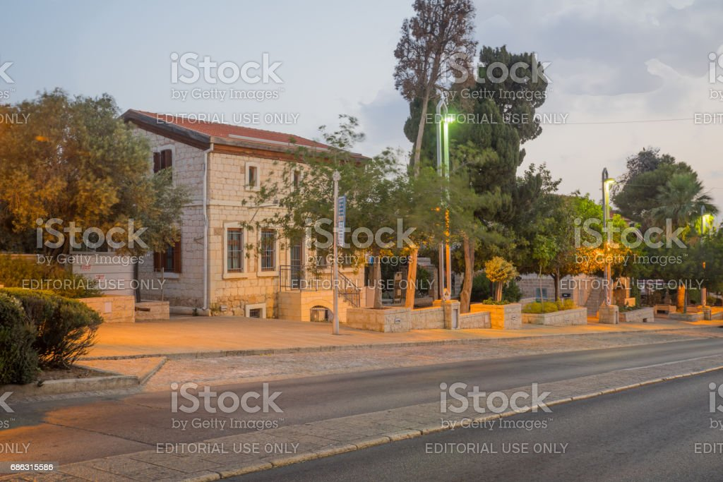 German Colony at sunrise, in Haifa stock photo