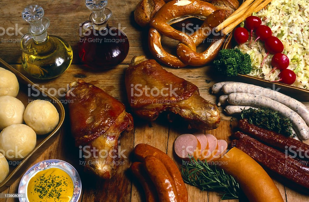 german cuisine roast pork shank sausage red meat stock photo
