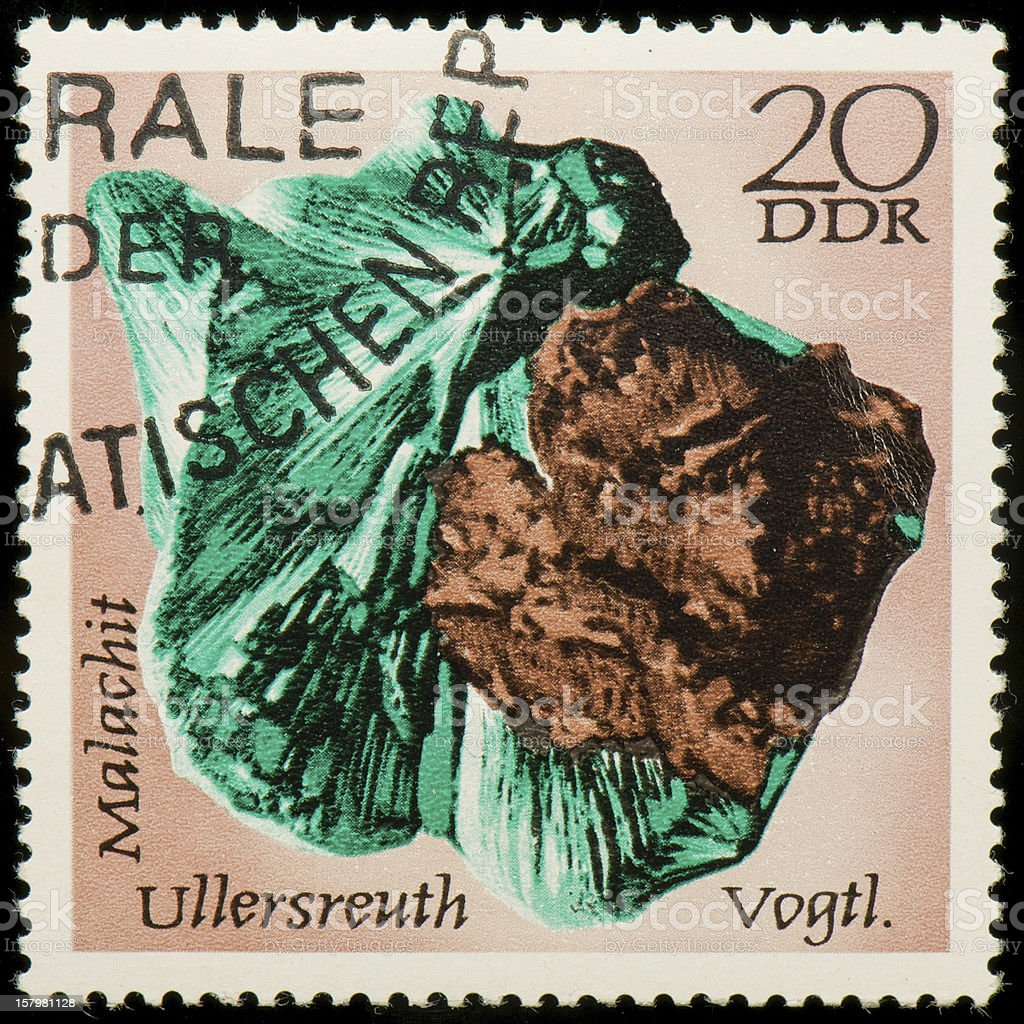 German Democratic Republic's postage stamp with a picture of malachite royalty-free stock photo
