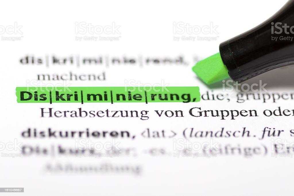 German dictionary - Diskriminierung royalty-free stock photo