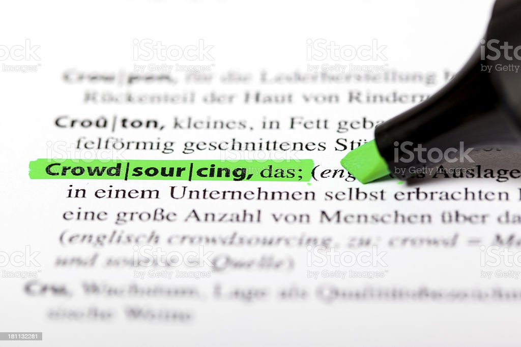 German dictionary text - Crowdsourcing royalty-free stock photo