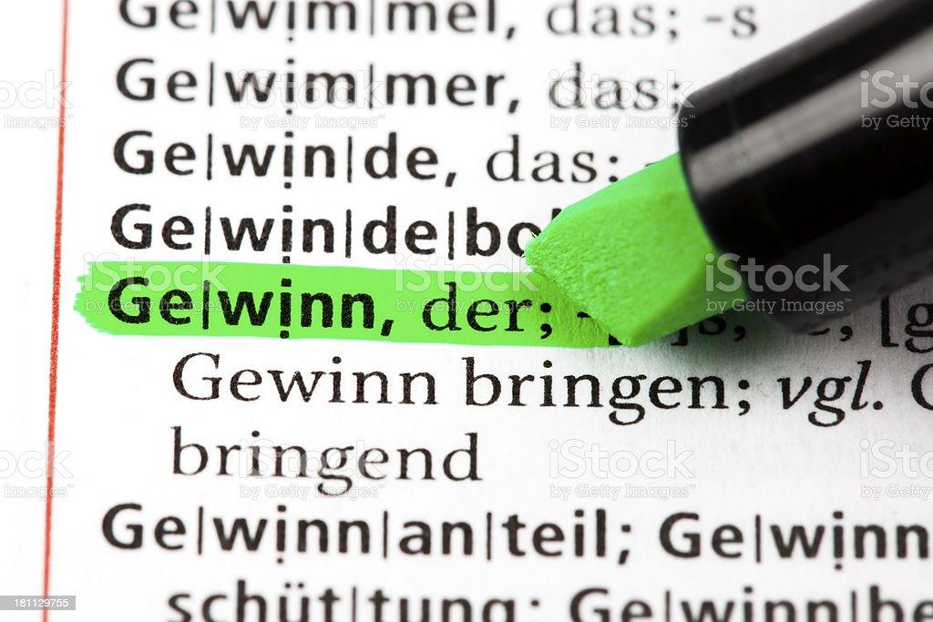 German dictionary text - Gewinn royalty-free stock photo