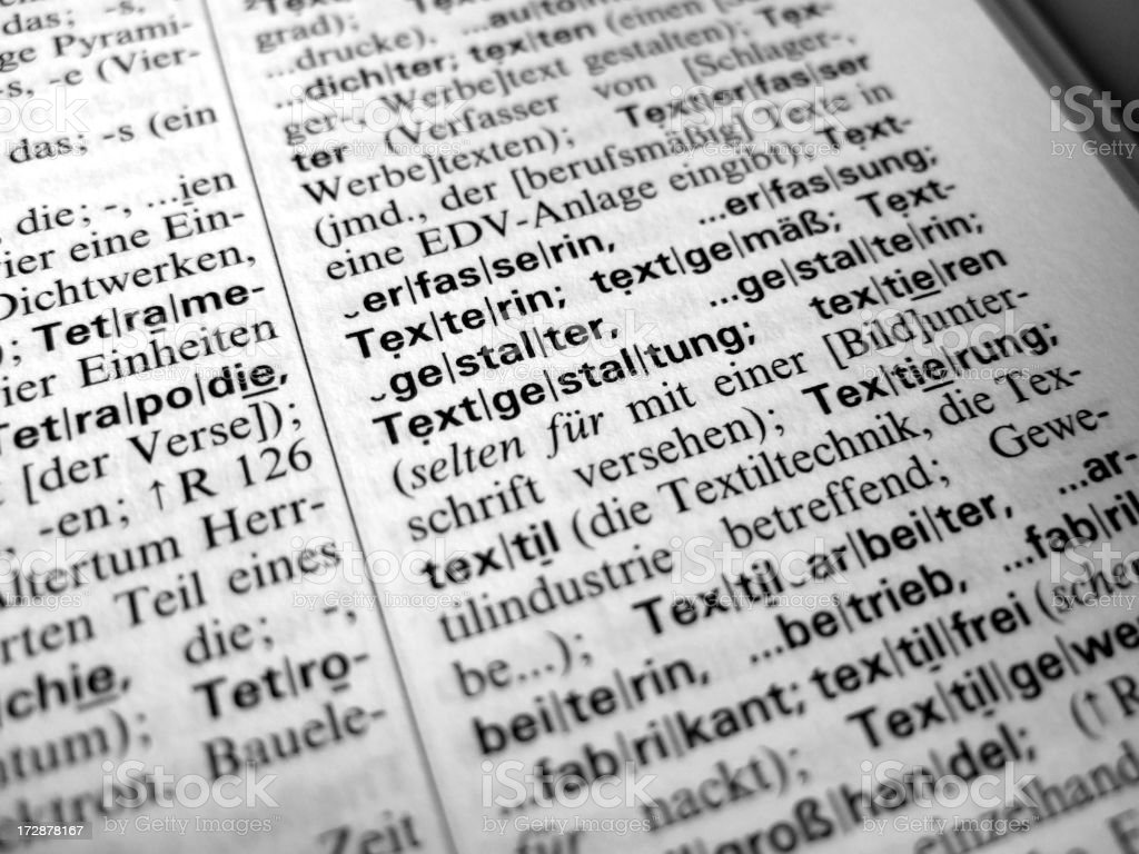 german dictionary text royalty-free stock photo