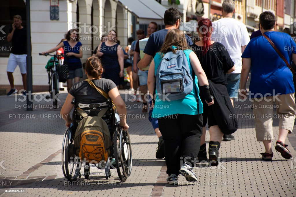 German Disabled people and foreign travelers walking visit at Heidelberg, Germany stock photo