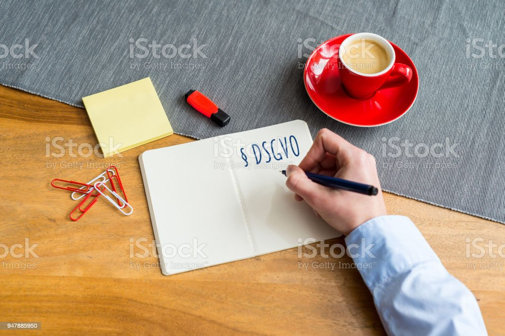 German Dsgvo Writing On Notebook Meaning Gdpr In English As
