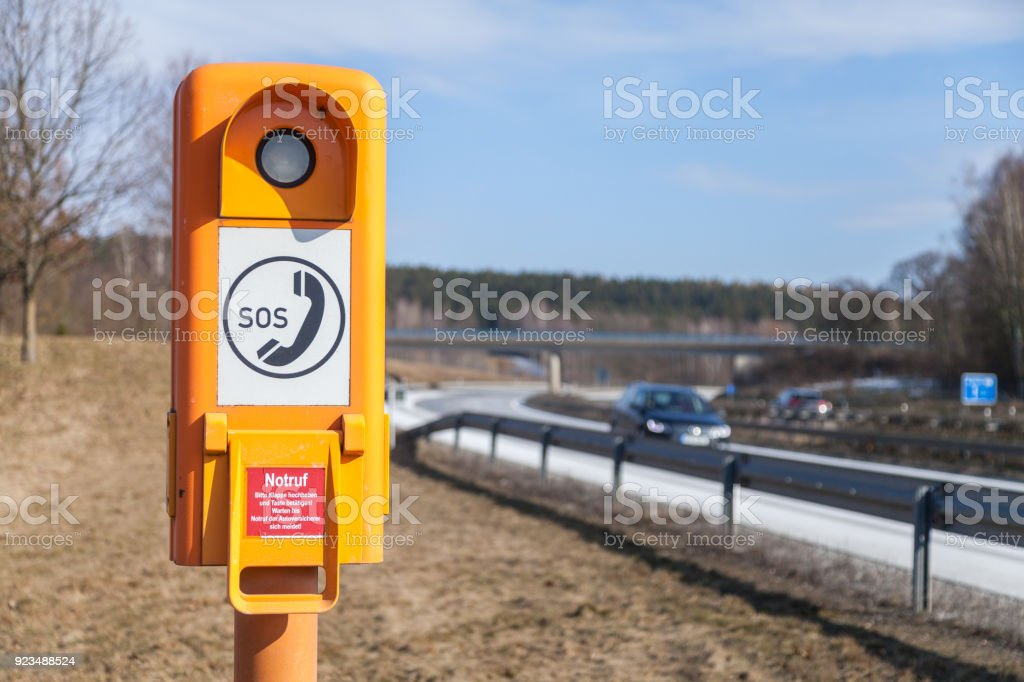 german emergency call box near a motorway stock photo
