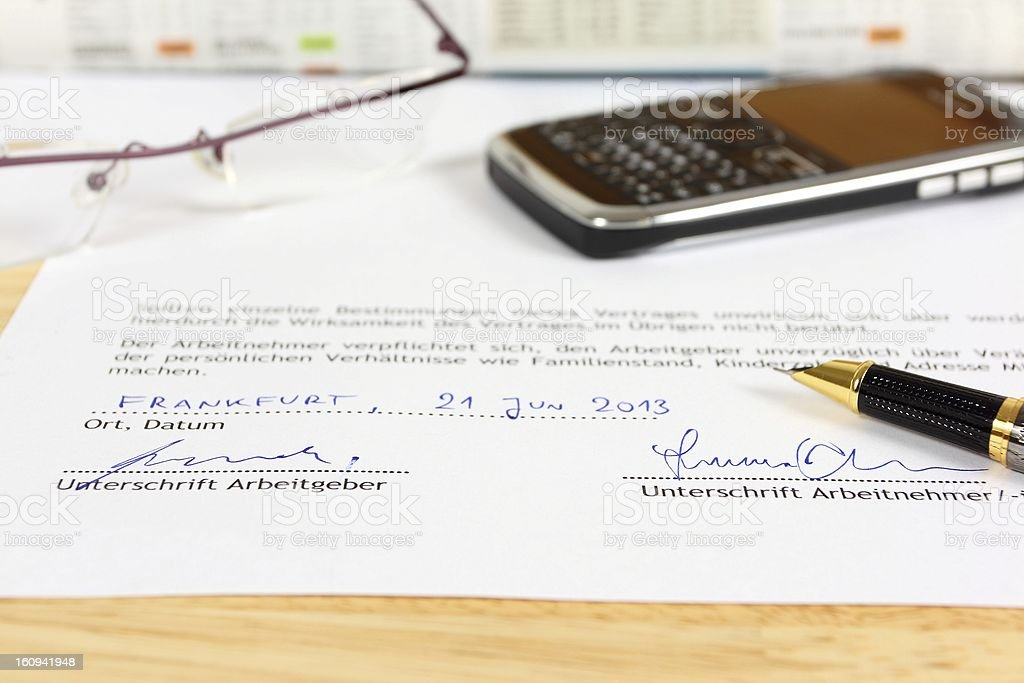 German employment contract royalty-free stock photo