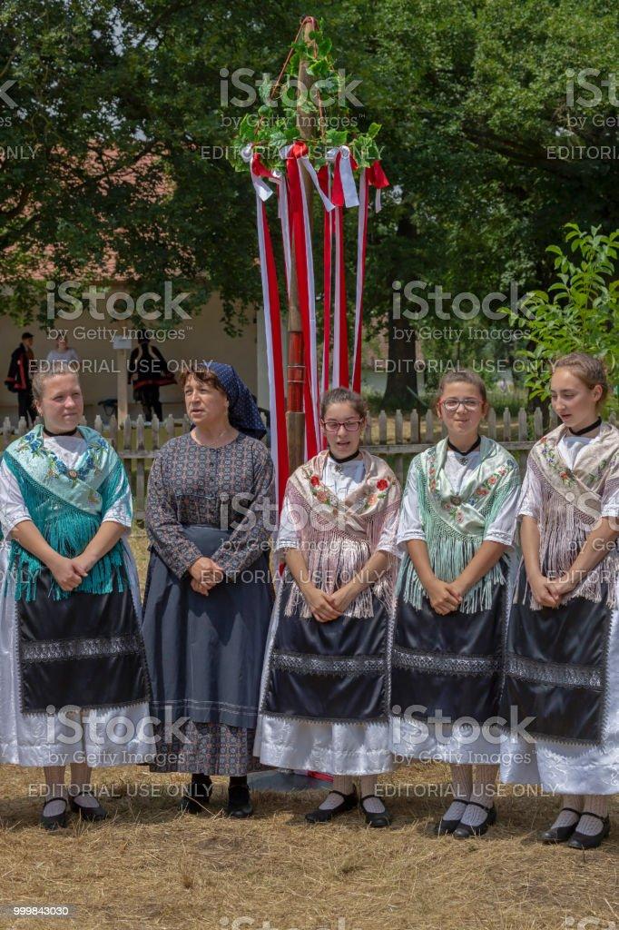 Allemands ethniques de Banat, en costumes traditionnels, montrent à un festival folklorique - Photo
