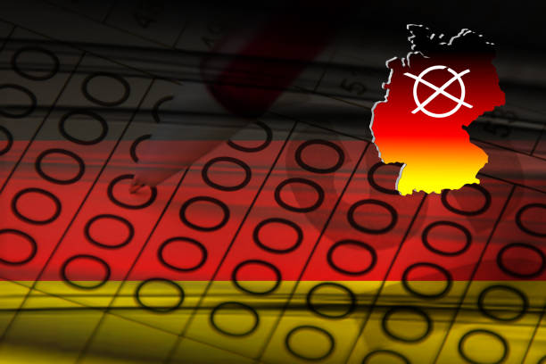German federal elections State elections with Germany flag and election cross abstract stock photo