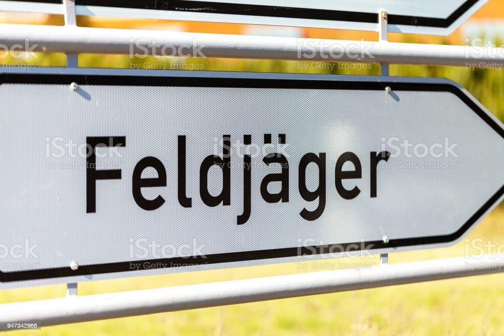 german Feldjaeger sign near a barrack. Feldjaeger is the german word for military police stock photo
