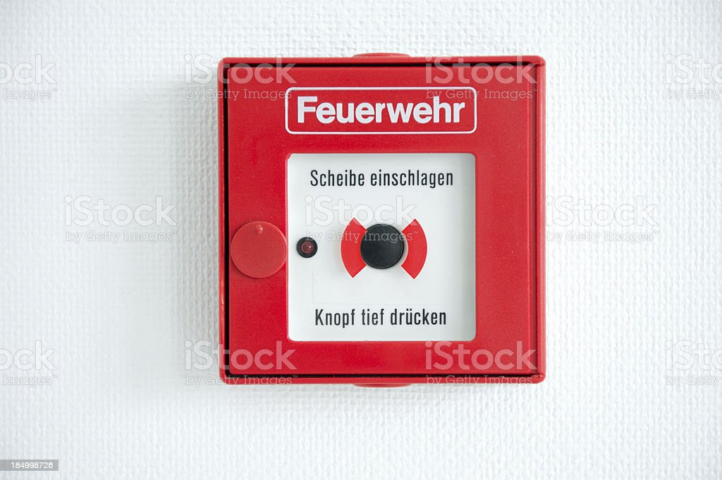 German fire alarm box on a wall stock photo