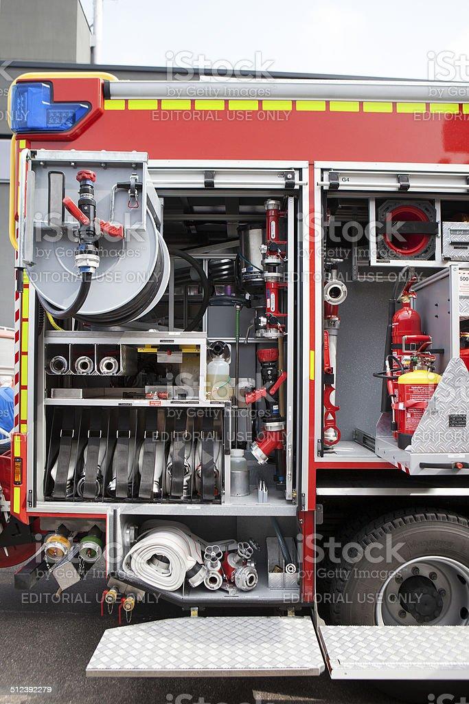 A German fire truck of fire brigade, Mainz - side view, open...