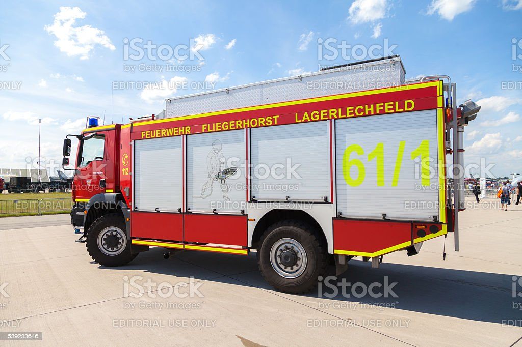german fire service truck stands on airport royalty-free stock photo