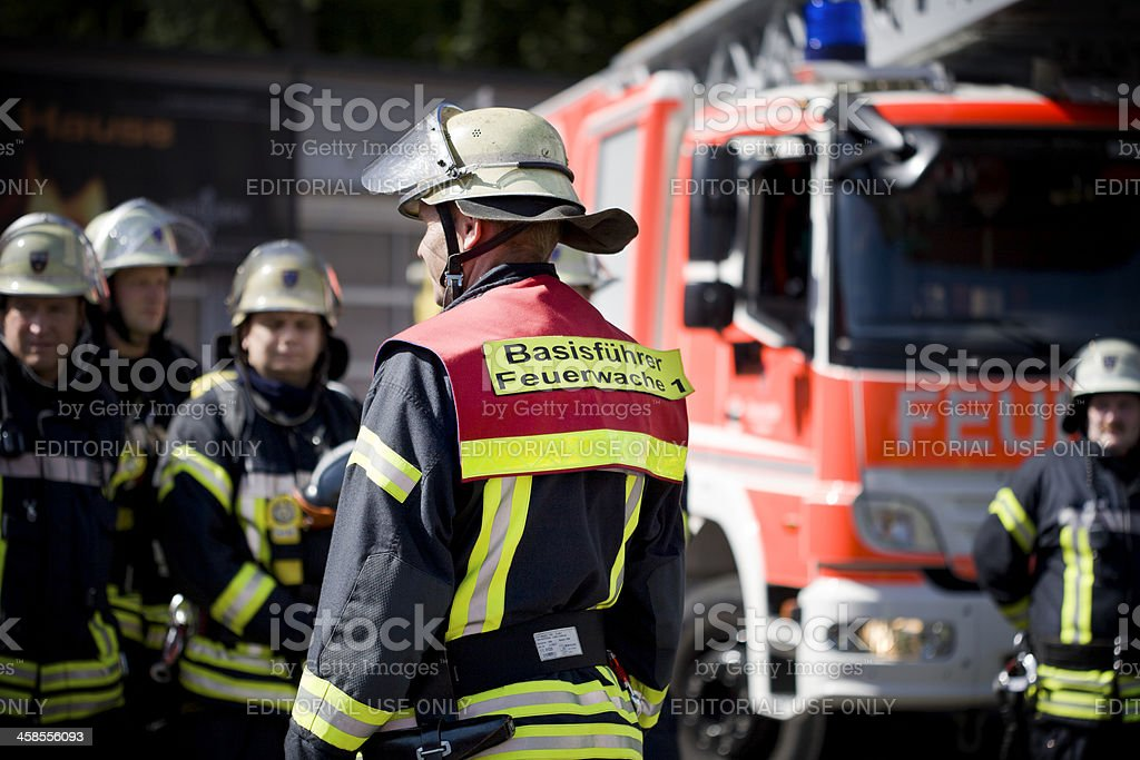German firefighters stock photo